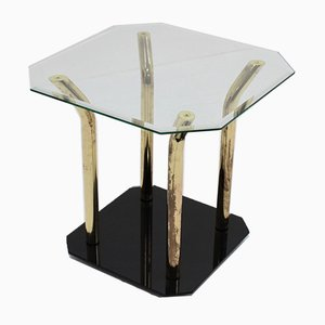 Italian Glass & Brass Side Table, 1970s