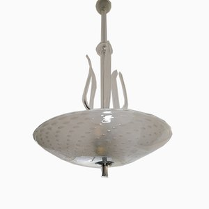 Ceiling Lamp with Glass Bullicante Dish by Ercole Barovier for Barovier & Toso, 1950s