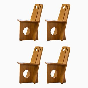 Swedish Pine Dining Chair Set by Gilbert Marklund for Furusnickarn AB, 1970s, Set of 4