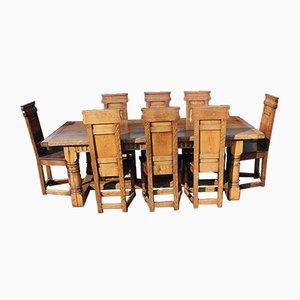 Eichenholz Esstisch & Stühle Set, 1960er, Set of 9