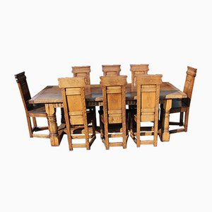 Oak Dining Table & Chairs Set, 1960s, Set of 9