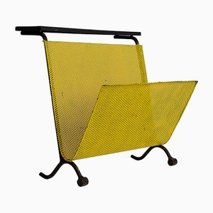French Metal & Perforated Tole Magazine Rack, 1950s
