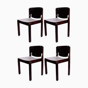 Rosewood 122 Stacking Chairs by Vico Magistretti for Cassina, 1970s, Set of 4