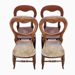 Antique Mahogany Dining Chairs, 1900s, Set of 4