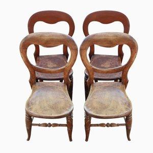 Chaises de Salle à Manger Antique en Acajou, 1900s, Set de 4