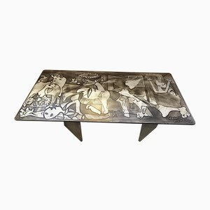Vintage Picasso Inspired Marble Coffee Table, 1960s
