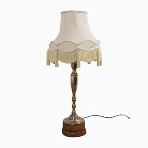 Tall English Walnut Silver-Plated Table Lamp, 1930s