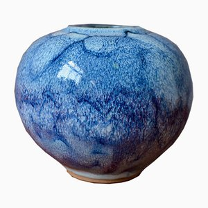 Blue Lagoon Ceramic Boule Vase by Daniel de Montmollin for Taizé, 1970s