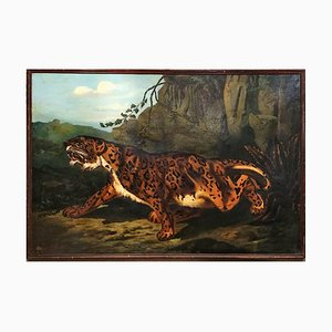 19th French Large Painting of Leopard, Oil on Canvas
