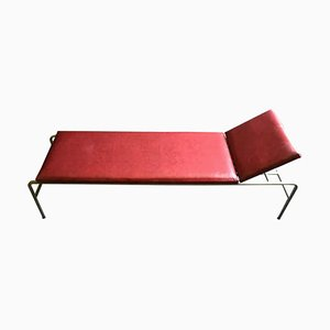 Mid-Century Industrial Red Leather Daybed, 1950