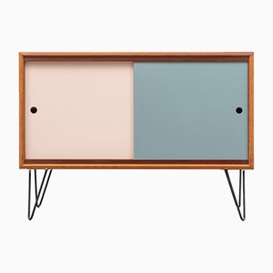 Teak Sideboard with Colored Turning Doors & Hairpin Legs, 1960s