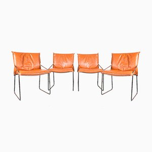 Chaises de Salon Vintage en Chrome Orange et Acier, 1970s, Set de 4