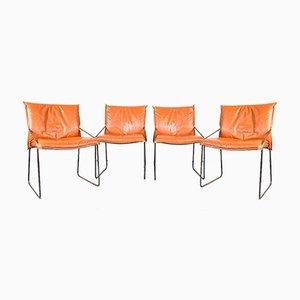 Vintage Esszimmerstühle aus Chrom & Stahl in Orange, 1970er, 4er Set