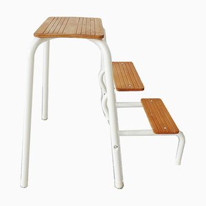 White Metal & Wood Step Ladder from FRZ, 1970s