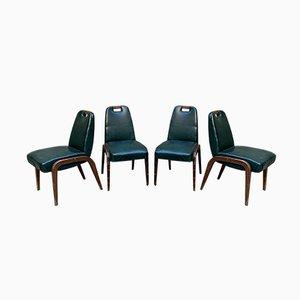 Chaises de Salon en Bois et Vinyle, Italie, 1940s, Set de 4