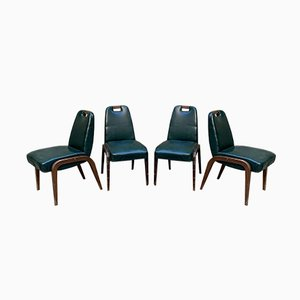 Italian Wood & Vinyl Leather Dining Chairs, 1940s, Set of 4