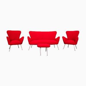 Set da salotto vintage rosso, anni '50, set di 4