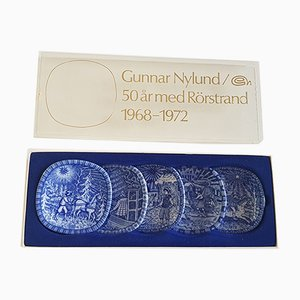 Mid-Century Anniversary Dishes by Gunnar Nylund for Rörstrand, Set of 5