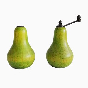 Pear-Shaped Salt & Pepper Mills, 1970s, Set of 2