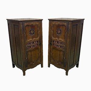 Oak & Cherry Wood Cabinets, 1950s, Set of 2