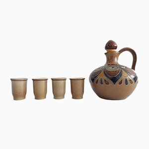 Vintage Salt-Glazed Stoneware Jug & Cups from Merkelbach Manufaktur, Set of 5