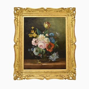 Antique Flower Painting, Tulips and Roses, Oil on Canvas, 19th Century
