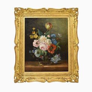 Peinture à Fleurs Antique, Tulipes et Roses, Huile sur Toile, 19ème Siècle