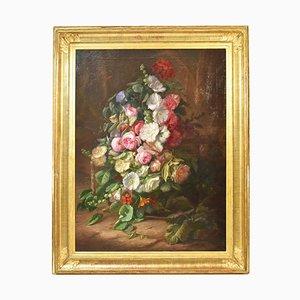 Cuadro grande con flores, peonías y rosas, óleo sobre lienzo, siglo XIX