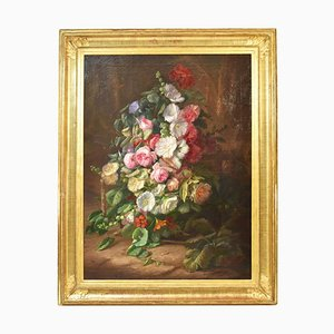 Large Flower Painting, Peonies and Roses, Oil on Canvas, 19th Century