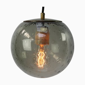 Dutch Smoked Bubble Glass & Brass Lamp, 1950s