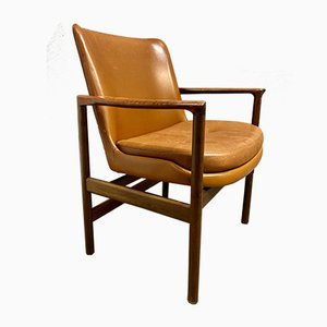 Scandinavian Leather Lounge Chair by Ib Kofod Larsen, 1950s