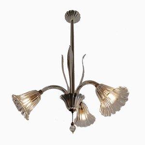 Lampada da soffitto con tre luci di Ercole Barovier per Barovier & Toso, anni '50