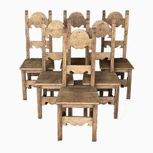 Antique Bleached Oak Farmhouse Dining Chairs, Set of 6