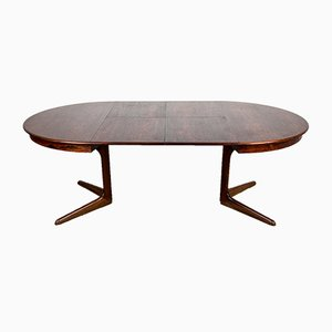 Danish Rosewood Extendable Dining Table with Central Leg, 1960s
