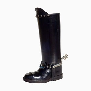 Leather Cowboy Boot Umbrella Stand, 1950s