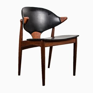 Danish Teak & Leatherette Office Chair by Arne Vodder for Vamø, 1960s