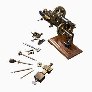 Antike Schweizer Uhrmacher-Drehmaschine aus Messing & Kupfer, ca. 1900