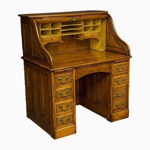 Antiker Nussholz Schreibtisch mit Rolltür