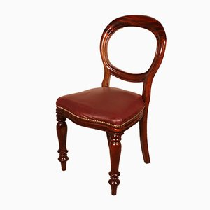Antique Leather & Mahogany Dining Chairs, Late 1800s, Set of 12
