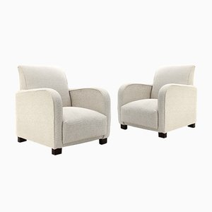 White Fabric Armchairs, 1930s, Set of 2