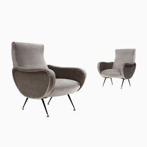 Gray Velvet Armchairs, 1950s, Set of 2
