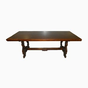 Italian Fratino Style Solid Walnut Table with Lyre Legs, 1900s