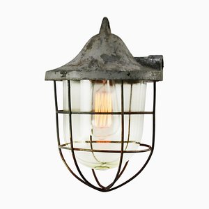 Mid-Century Industrial Gray Metal & Glass Cage Pendant Lamp