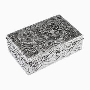 20th Century Japanese Silver Dragon Cigar Box, 1900s