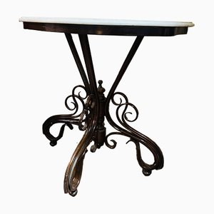 Antique Console Table with Marble Top by Michael Thonet for Gebrüder Thonet Vienna GmbH