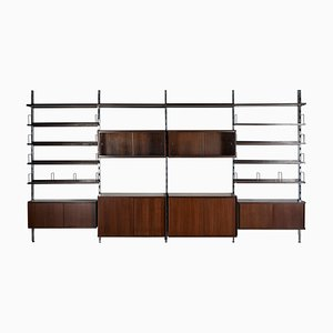 Large Italian Wood & Metal Shelving Unit by Ico Luisa Parisi for MIM, 1960s