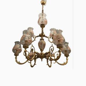 Lámpara de araña grande de cristal de Murano de Rosa Perla, años 70