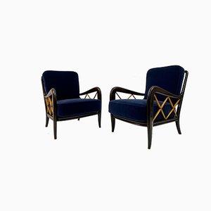 Italian Paolo Buffa Style Blue Mohair Velvet Ebonized Armchairs, 1950s, Set of 2