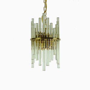 Hollywood Regency Style Gilt Brass & Glass Rod Chandelier by Christoph Palme for CP&Co., 1960s