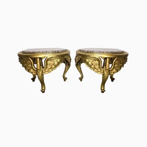 Carved Gilt Wood & Marble Swan Side Tables, 1970s, Set of 2